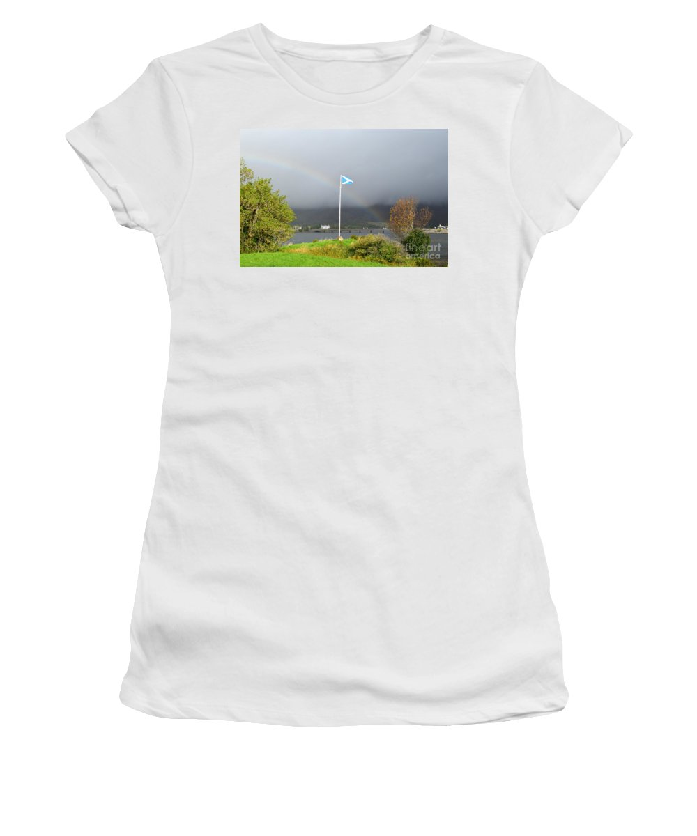 Scottish Flag Women's T-Shirt (Athletic Fit) featuring the photograph Scottish Flag With A Rainbow by DejaVu Designs