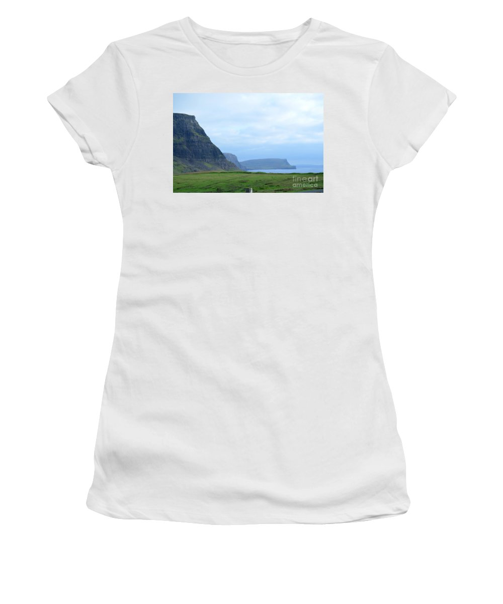 Neist Point Women's T-Shirt (Athletic Fit) featuring the photograph Sea Cliffs At Neist Point In Scotland by DejaVu Designs