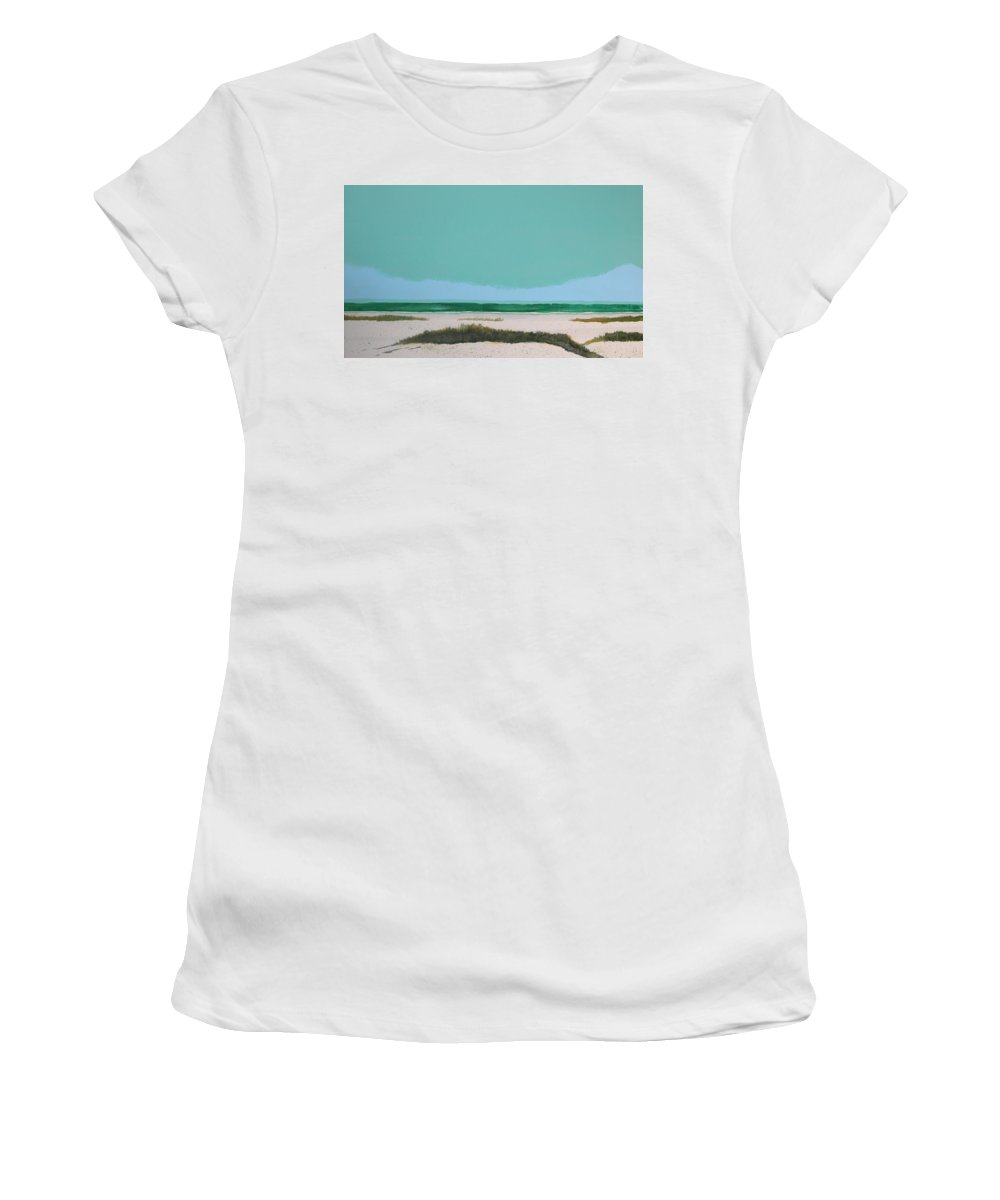 Beach Women's T-Shirt (Athletic Fit) featuring the painting Sea Oat Dune 3 by Rhodes Rumsey