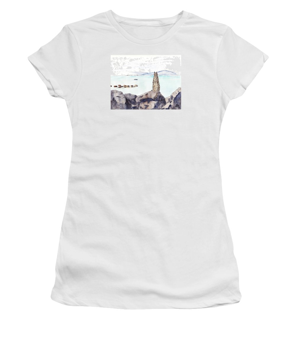 Sketch Women's T-Shirt (Athletic Fit) featuring the painting Sea Squirrel by Masha Batkova