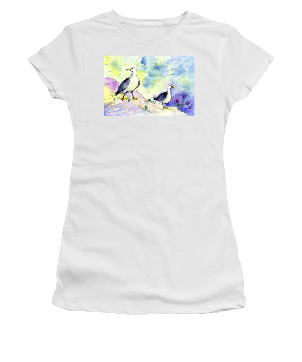 Travel Women's T-Shirt (Athletic Fit) featuring the painting Seagulls In Calpe In Spain by Miki De Goodaboom