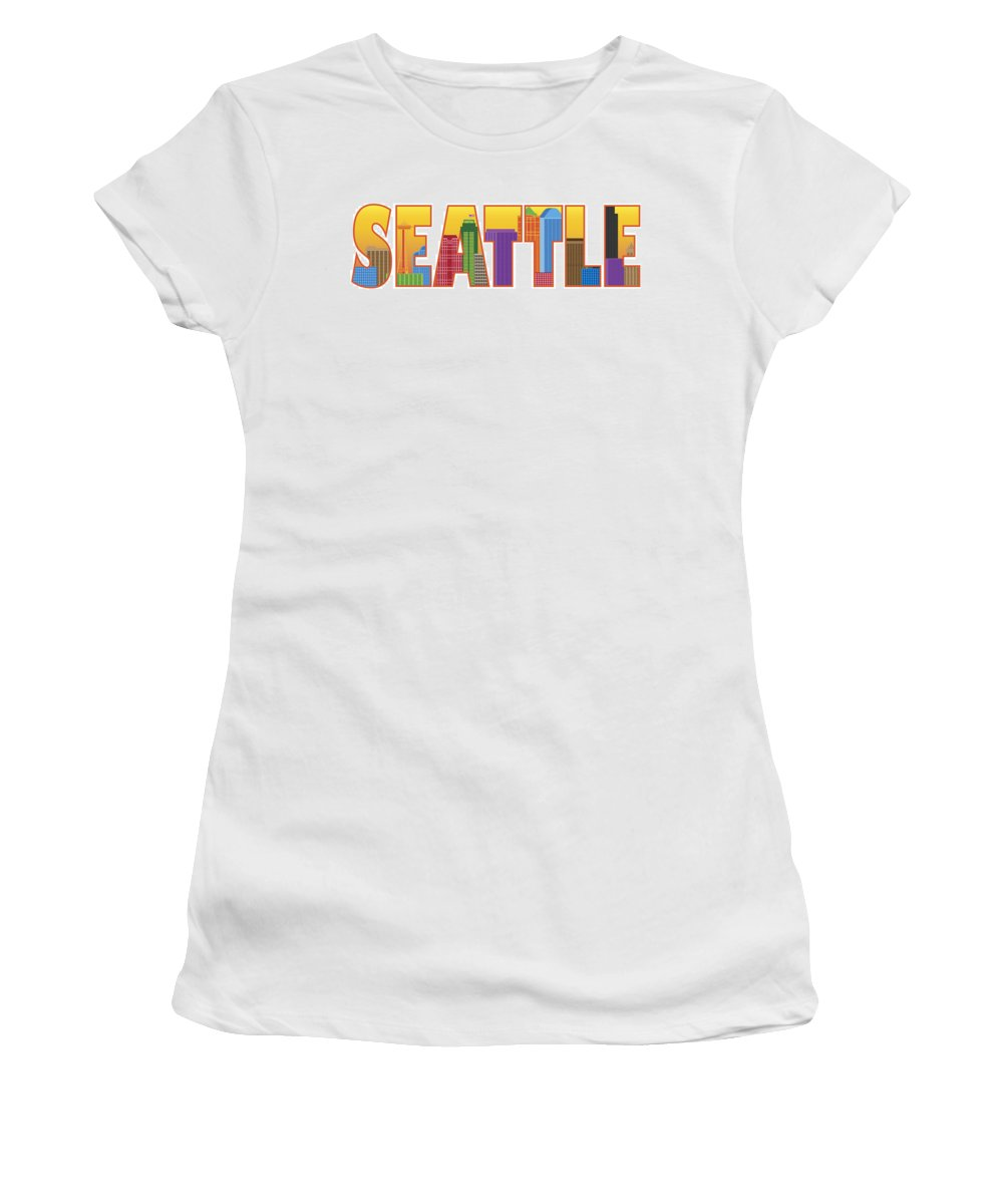 Seattle Women's T-Shirt featuring the photograph Seattle City Skyline Text Outline Color Illustration by Jit Lim