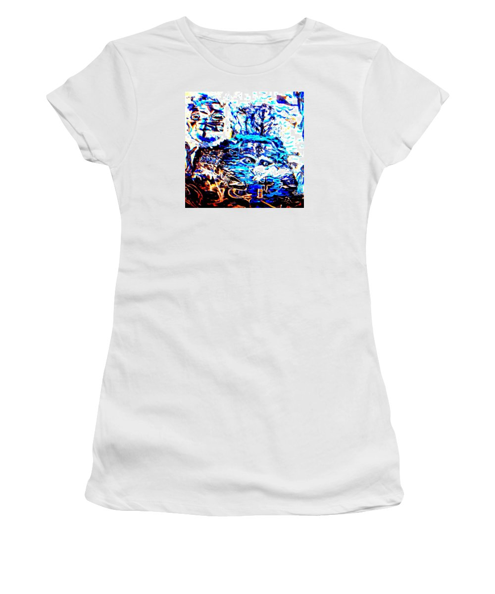Sea Women's T-Shirt featuring the relief See The Sea Trolls Diving Deep Down Where They Can't Be Seen Anymore by Hilde Widerberg