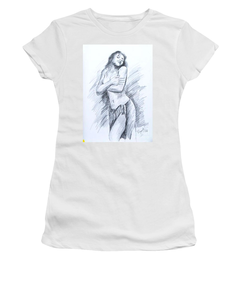 Nude Women's T-Shirt (Athletic Fit) featuring the painting Semi Nude by Ragunath Venkatraman