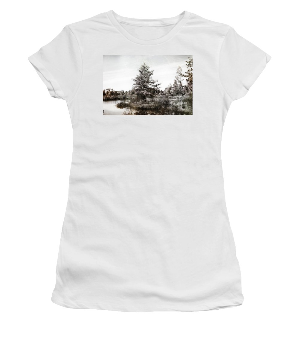 Evie Women's T-Shirt featuring the photograph Seney Silver And Chocolate by Evie Carrier