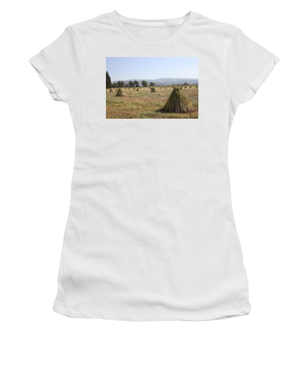 Sesame Women's T-Shirt (Athletic Fit) featuring the photograph Sesame Crop And Harvest by Taiche Acrylic Art