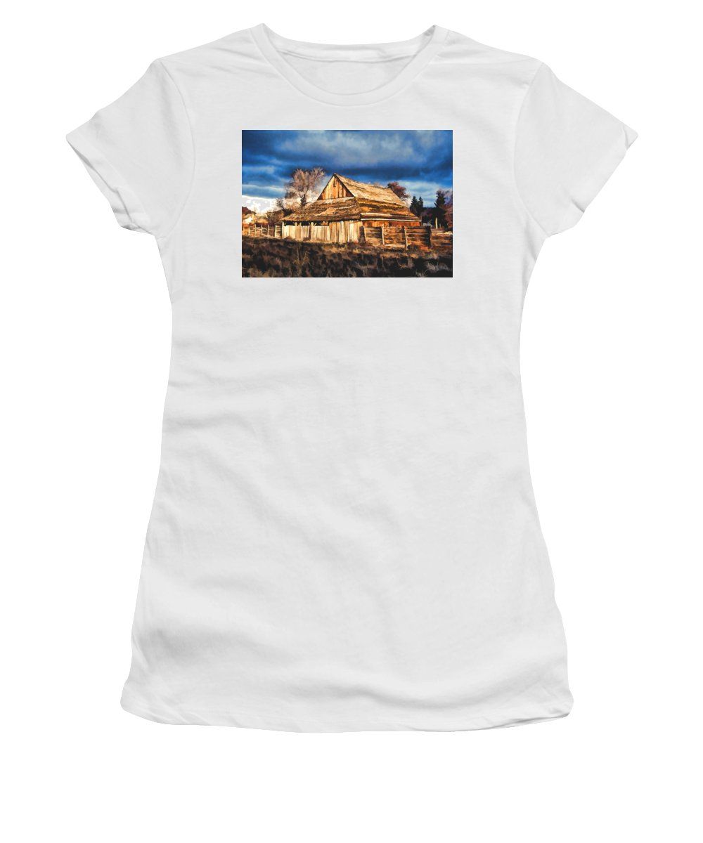 Building Ranch Fence Wooden House Barn Rural Rustic Sunset Storm Stormy Sky Clouds Field Women's T-Shirt (Athletic Fit) featuring the painting Setting Sun Gathering Storm And Old Homestead by Elaine Plesser