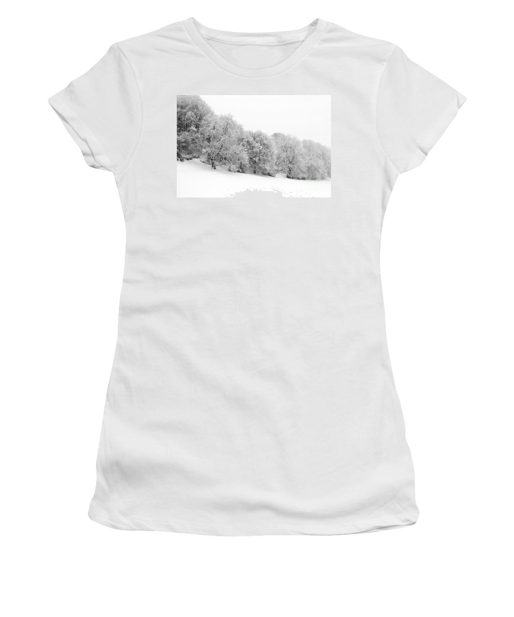 Annegilbert Women's T-Shirt (Athletic Fit) featuring the photograph Sherman's Wood by Anne Gilbert
