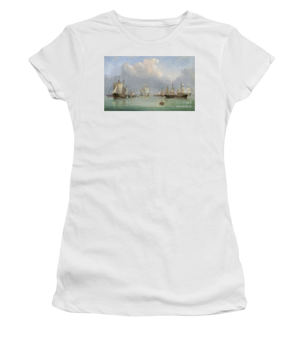 Floating; Barrel; Cask; Fleet; Boats; Vessels; Isle Of Wight; Coast; Coastal; English; Sails; Reflection; Anchored Women's T-Shirt (Athletic Fit) featuring the painting Ships Off Ryde by Arthur Wellington Fowles