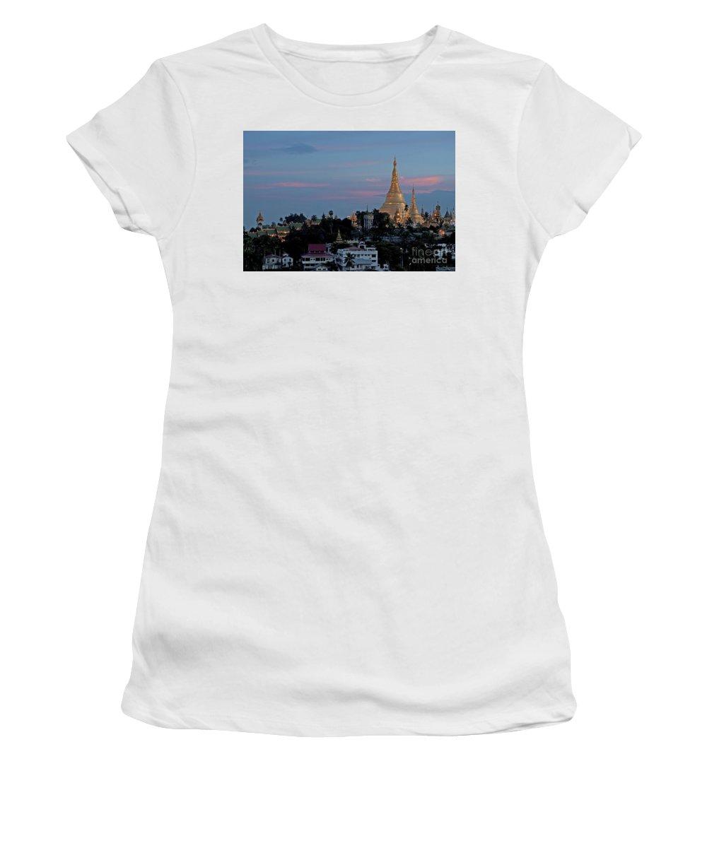 Shwedagon Women's T-Shirt (Athletic Fit) featuring the photograph Shwedagon Pagoda In Yangon Myanmar by Jacek Malipan