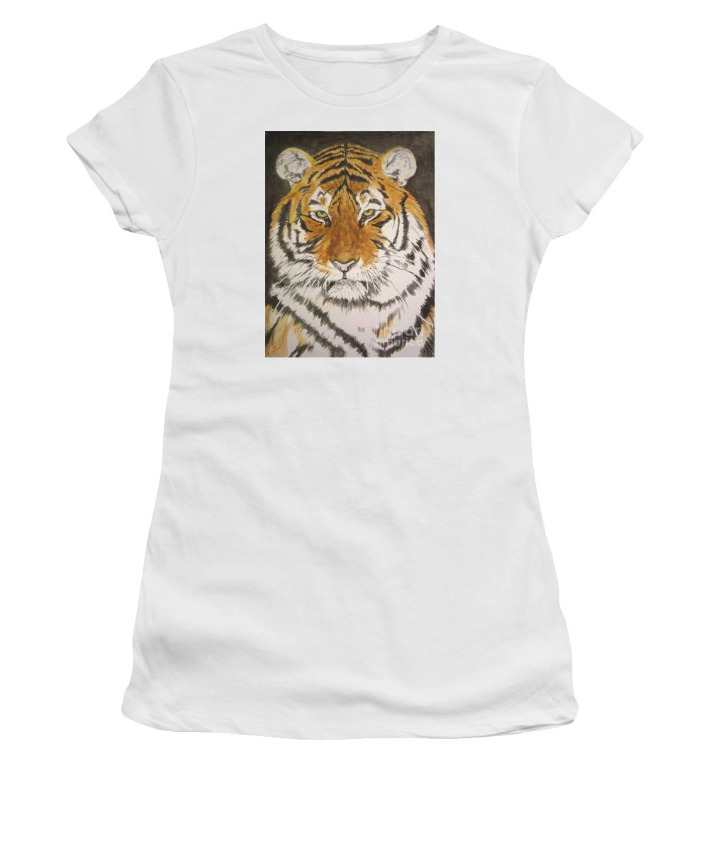 Siberian Tiger Women's T-Shirt featuring the painting Siberian Tiger by Regan J Smith