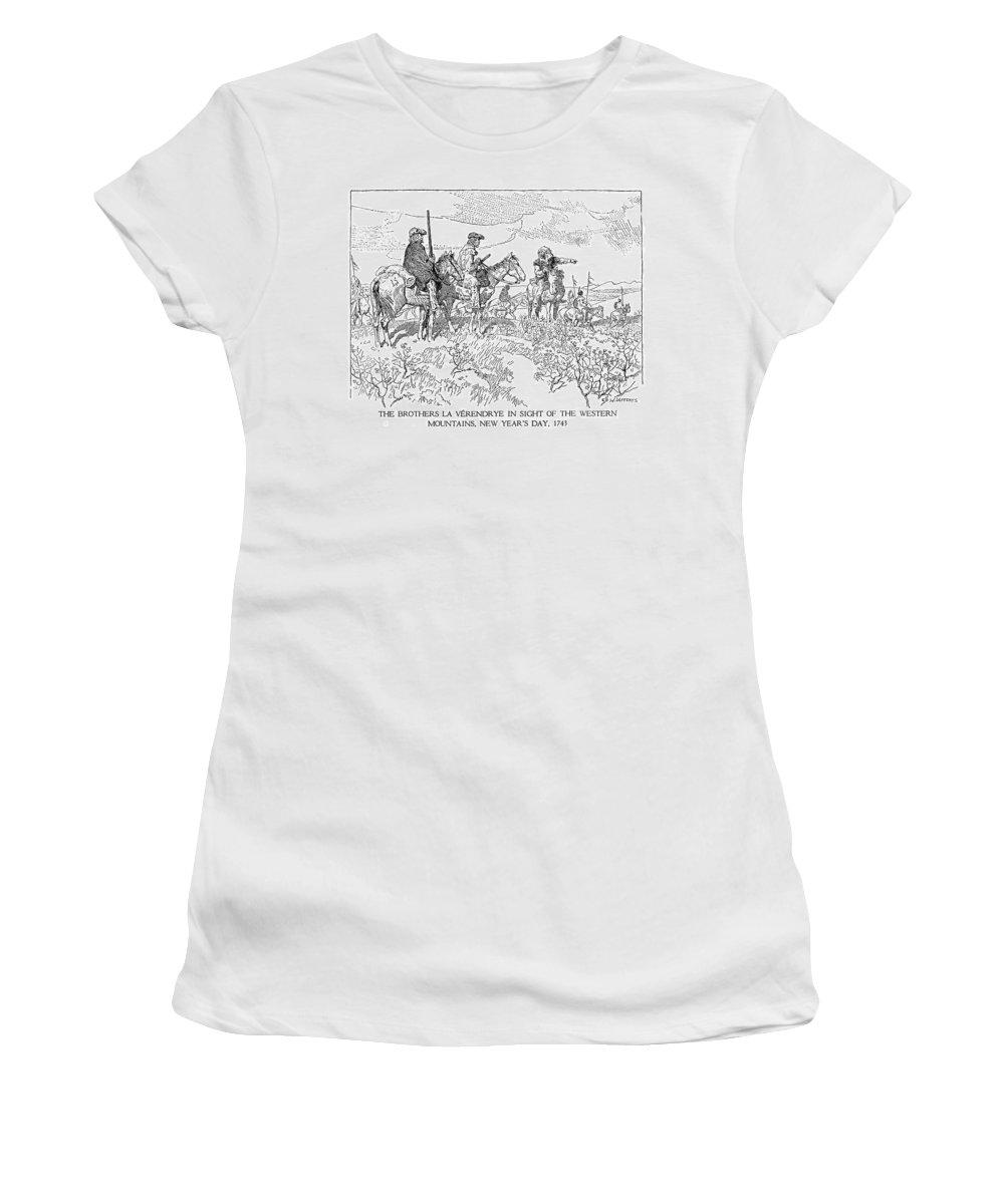1743 Women's T-Shirt (Athletic Fit) featuring the drawing Sieur De La Verendrye (1685-1749) by Granger