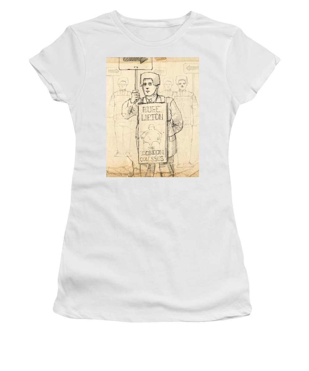 Sideshow Women's T-Shirt featuring the drawing Sign Men by H James Hoff