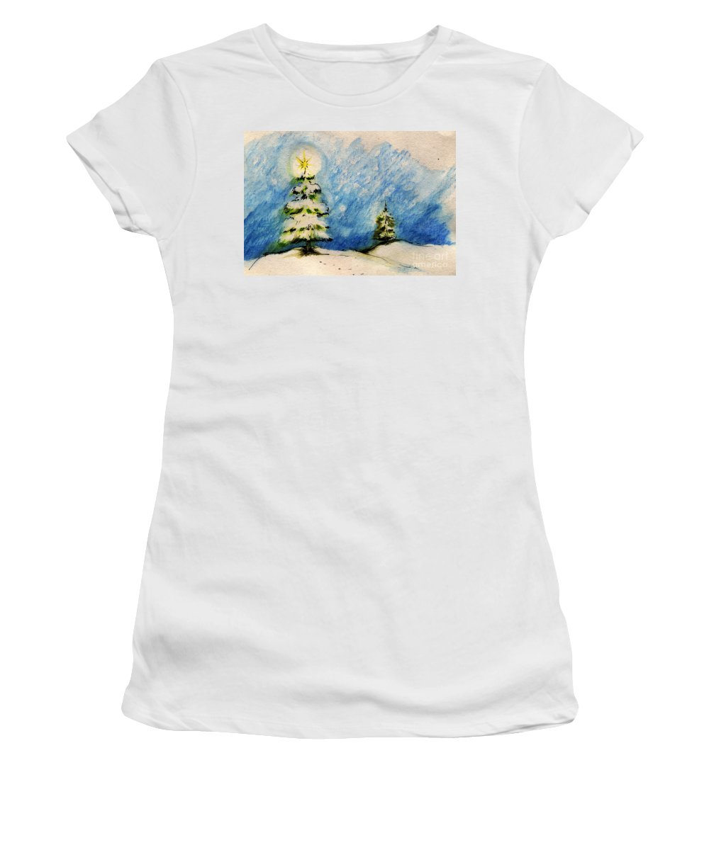 Christmas Women's T-Shirt (Athletic Fit) featuring the painting Silent Night Holy Night by Angel Ciesniarska
