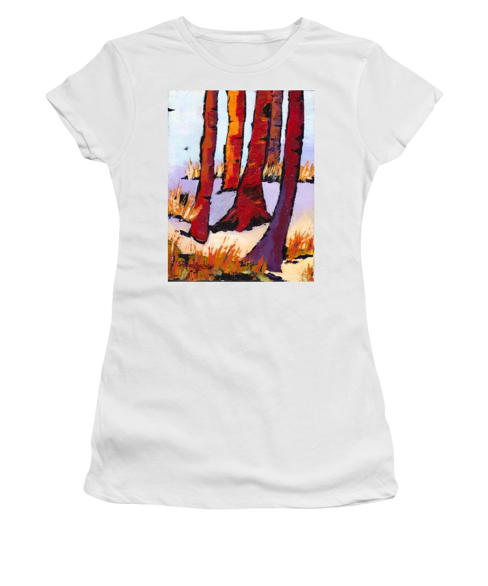 Tree Women's T-Shirt featuring the painting Silent Woods by Sole Avaria