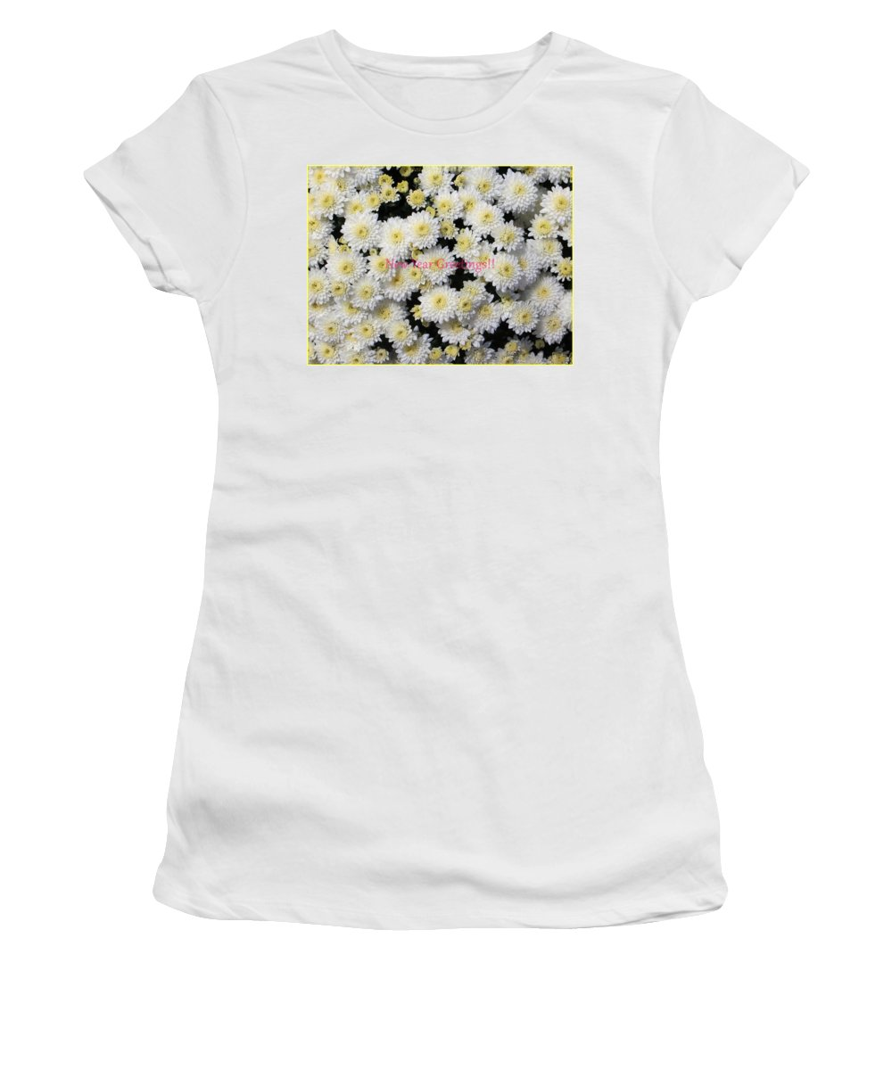 Chrysanthemum Women's T-Shirt featuring the photograph Silver Greetings by Sonali Gangane