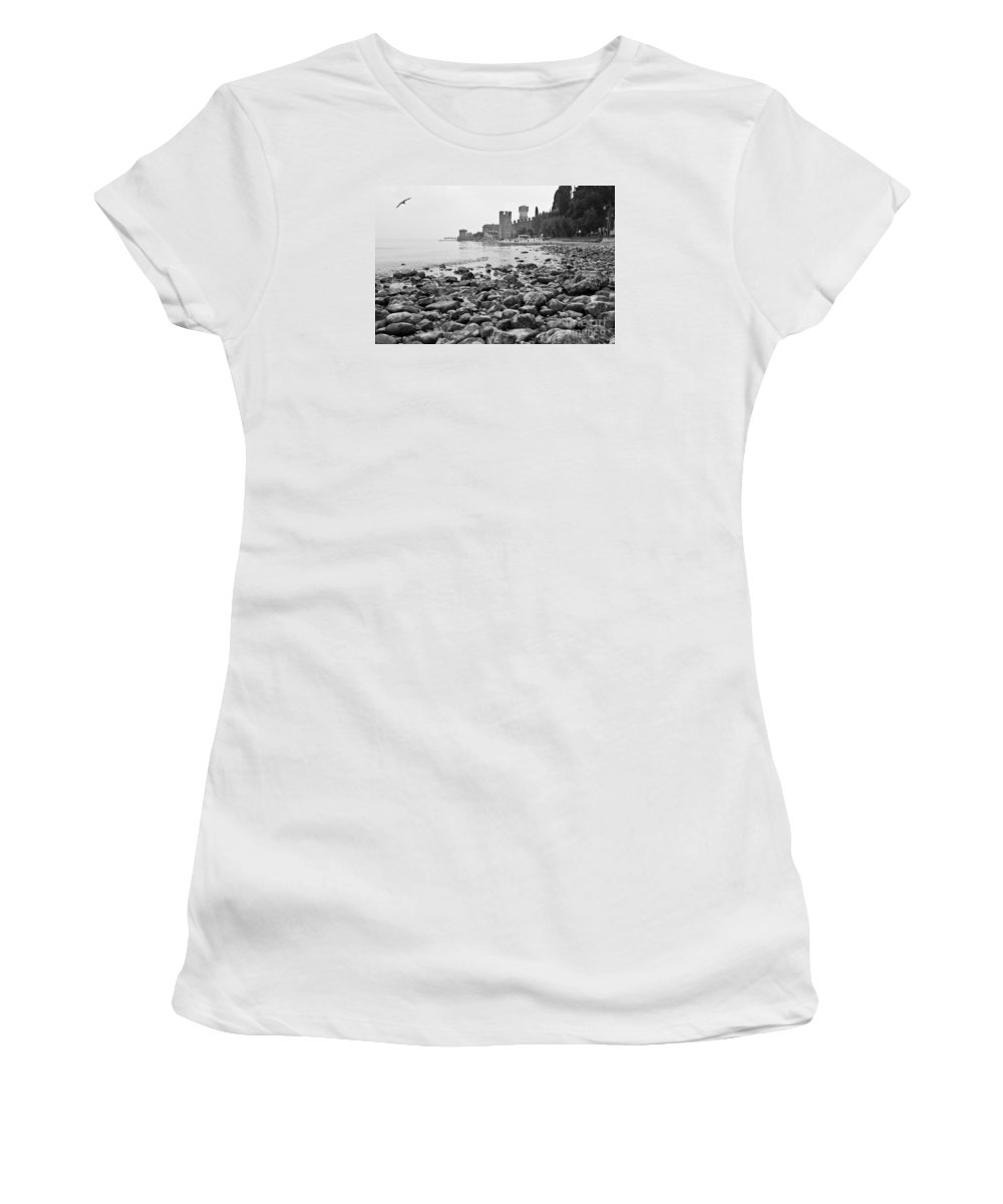 Landscapes Women's T-Shirt (Athletic Fit) featuring the photograph Sirmione Castle by Simona Ghidini