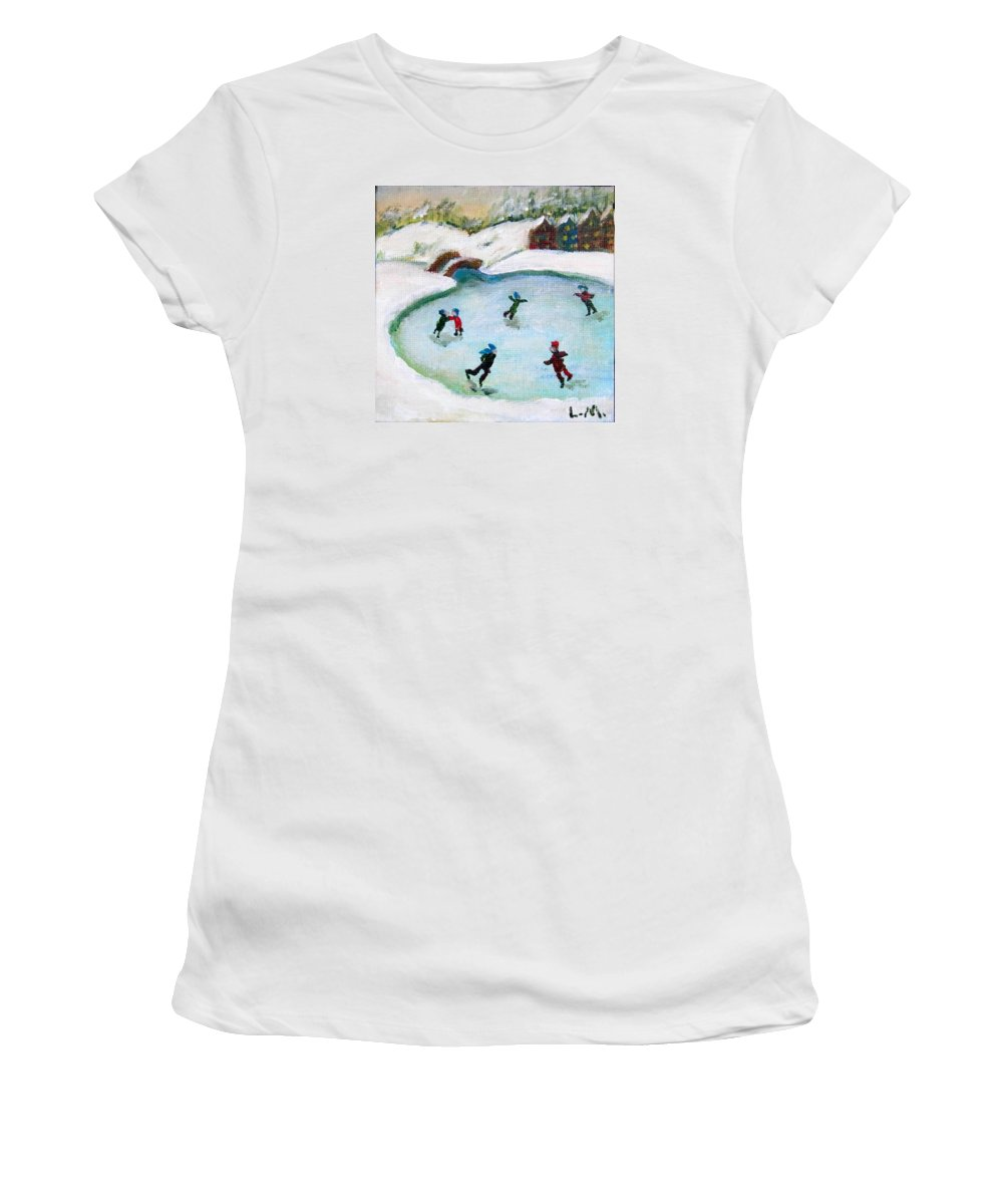 Ice Skate Women's T-Shirt featuring the painting Skating Pond by Laurie Morgan