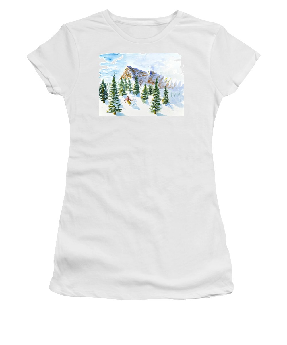 Skier Women's T-Shirt (Athletic Fit) featuring the painting Skier In The Trees by Walt Brodis