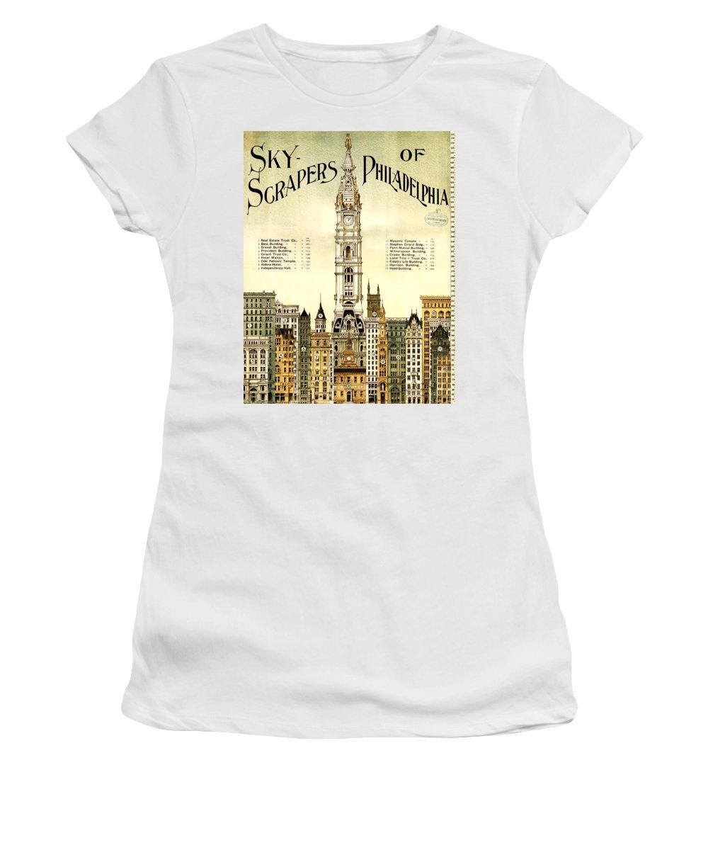 Sky Scrapers Of Philadelphia 1896 Women's T-Shirt featuring the digital art Sky Scrapers Of Philadelphia 1896 by Bill Cannon