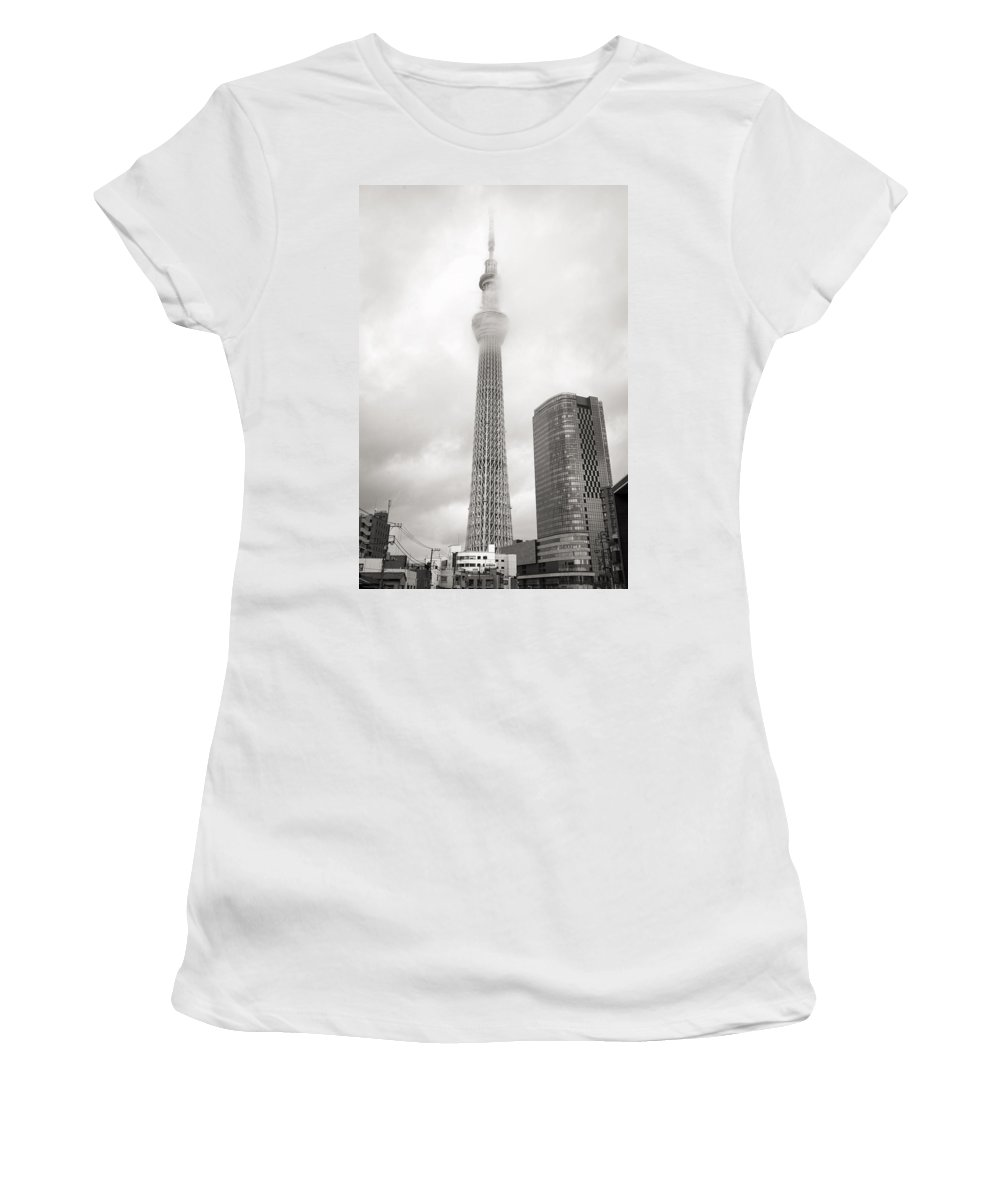 Skytree Women's T-Shirt featuring the photograph Skytower Tokyo In Black White by For Ninety One Days