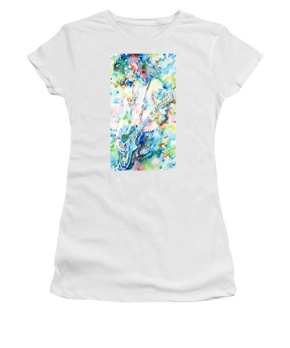Slash Women's T-Shirt featuring the painting Slash Playing Live - Watercolor Portrait by Fabrizio Cassetta