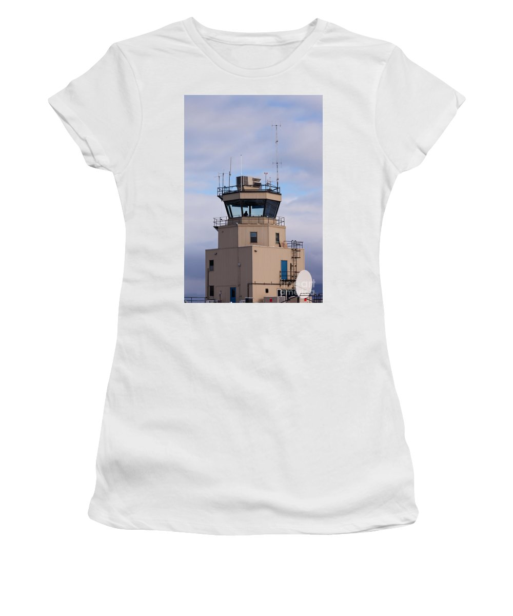Air Women's T-Shirt (Athletic Fit) featuring the photograph Small Air Traffic Control Tower Man Behind Glass by Stephan Pietzko