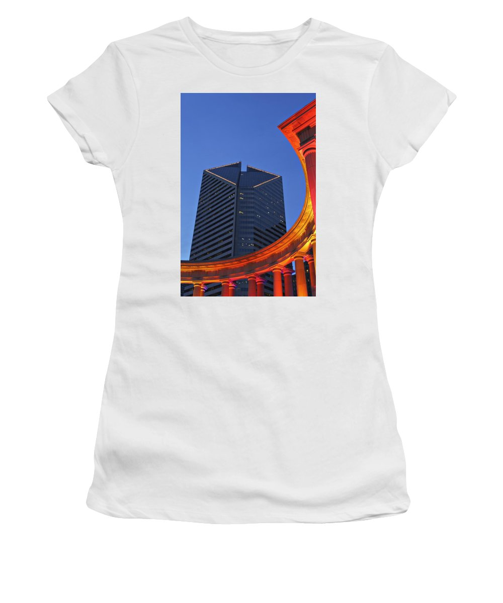 Vertical Women's T-Shirt (Athletic Fit) featuring the photograph Smurfit-stone Building Behind Wrigley by Axiom Photographic