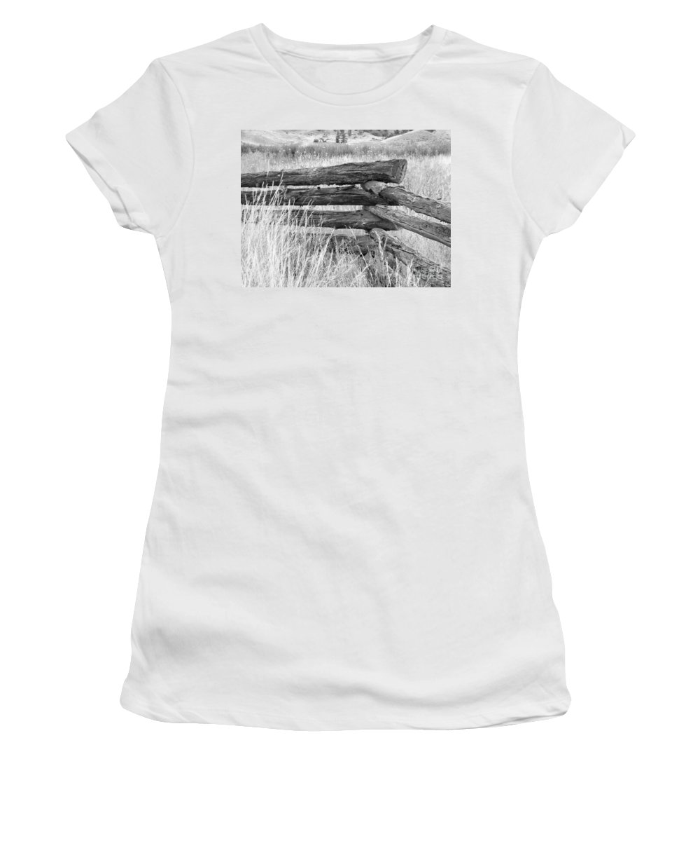 Snake Fence Women's T-Shirt (Athletic Fit) featuring the photograph Snake Fence by Ann E Robson