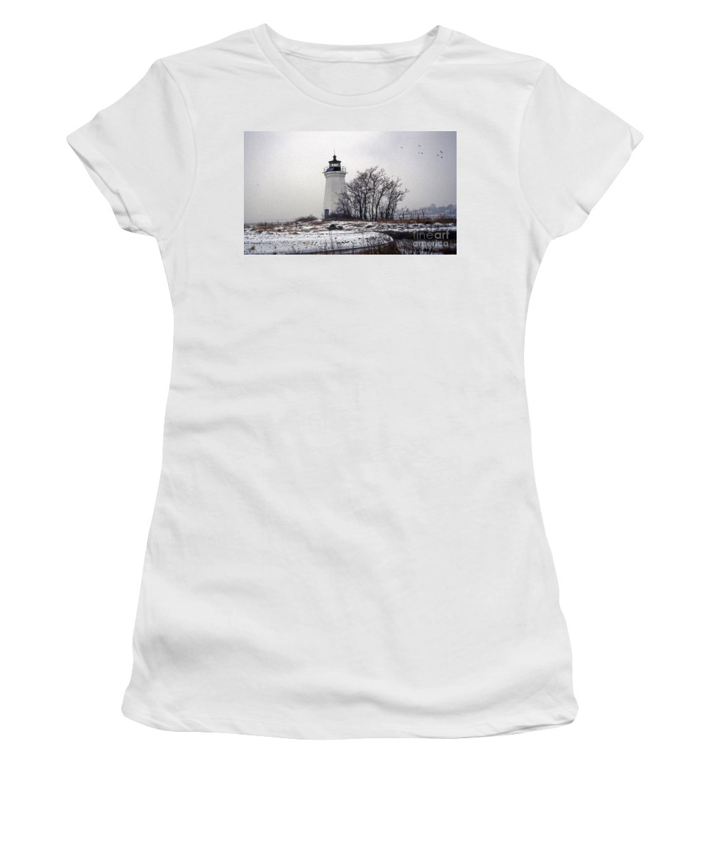 Lighthouses Women's T-Shirt featuring the photograph Snow And Ice by Skip Willits