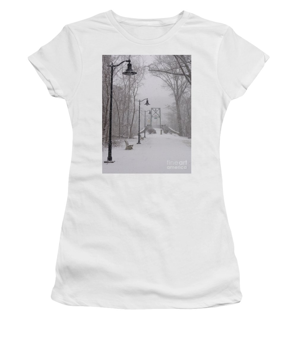 Bridge Women's T-Shirt (Athletic Fit) featuring the photograph Snow At Bulls Island - 05 by Christopher Plummer