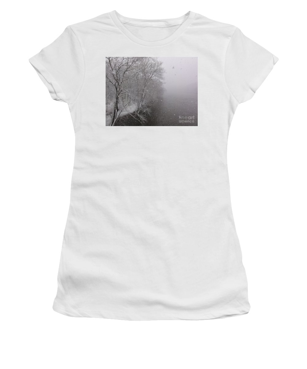 Bridge Women's T-Shirt (Athletic Fit) featuring the photograph Snow At Bulls Island - 12 by Christopher Plummer