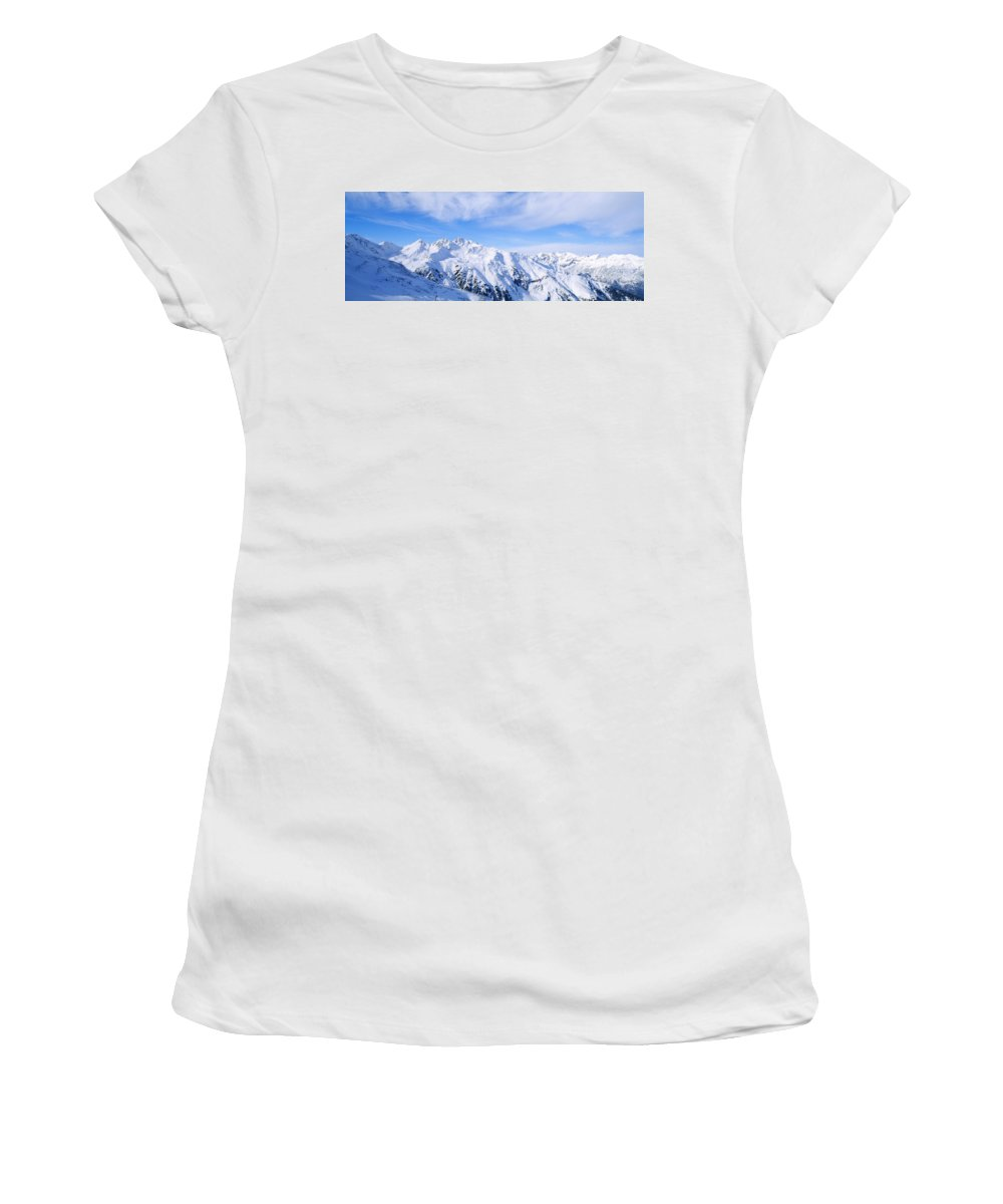 Photography Women's T-Shirt featuring the photograph Snow Covered Alps, Schonjoch, Tirol by Panoramic Images