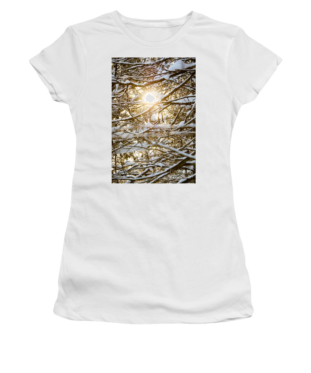 Women's T-Shirt (Athletic Fit) featuring the photograph Snow Covered Branches by Cheryl Baxter