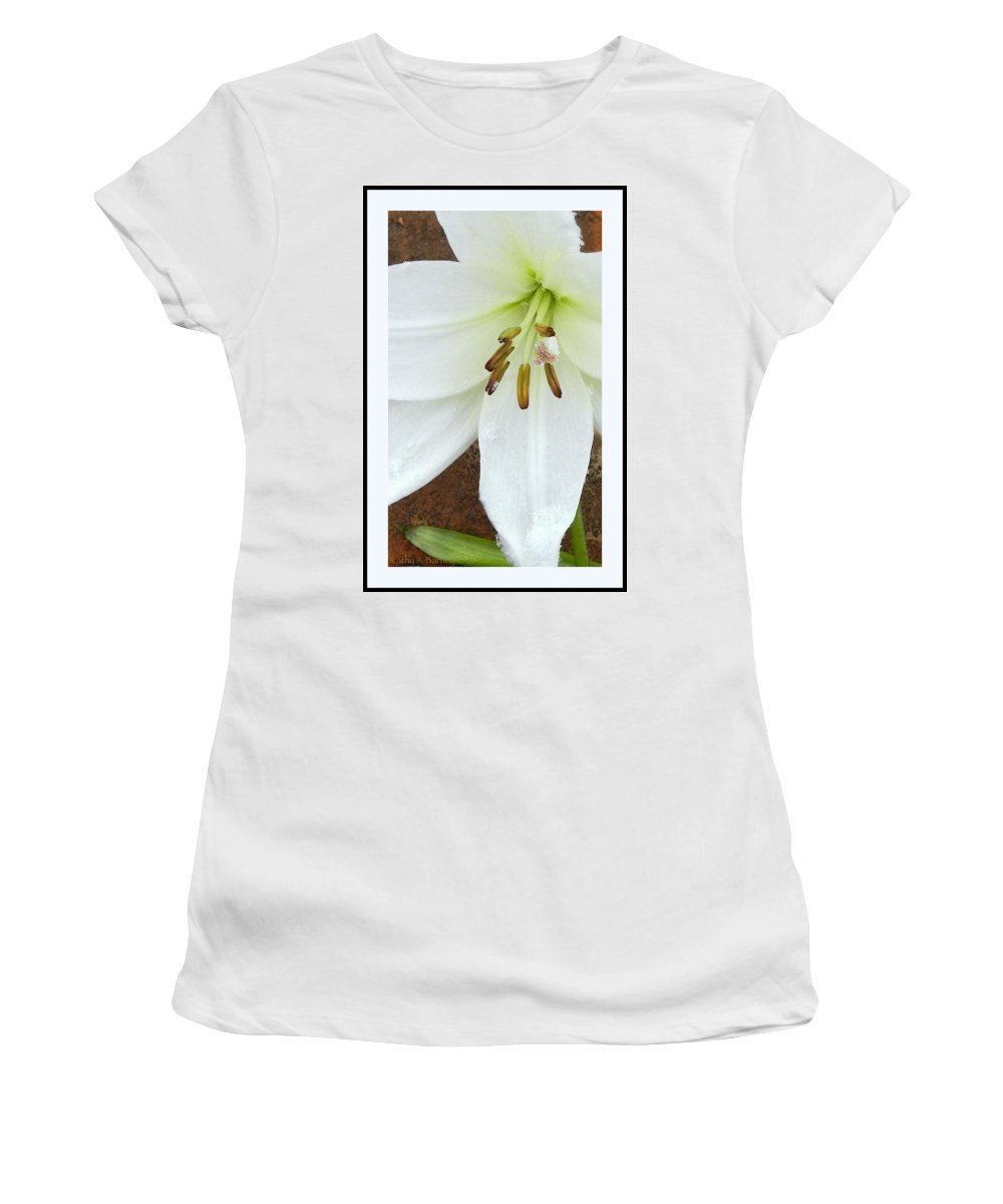 Border Women's T-Shirt (Athletic Fit) featuring the photograph Snow Drops by Kathy Barney