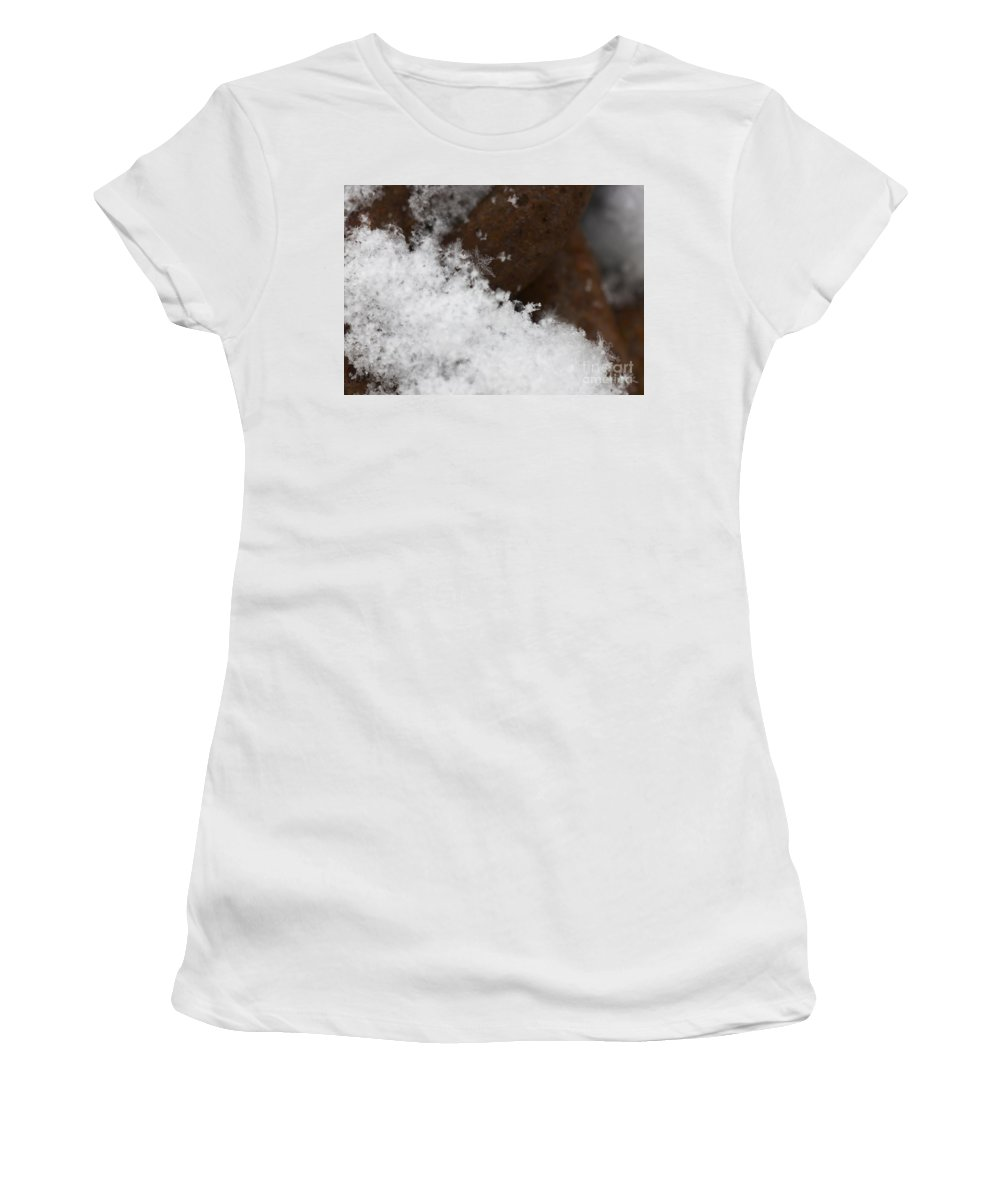 Snow Flake On Rusty Chain Women's T-Shirt (Athletic Fit) featuring the photograph Snow Flake Macro 2 by Michael Mooney