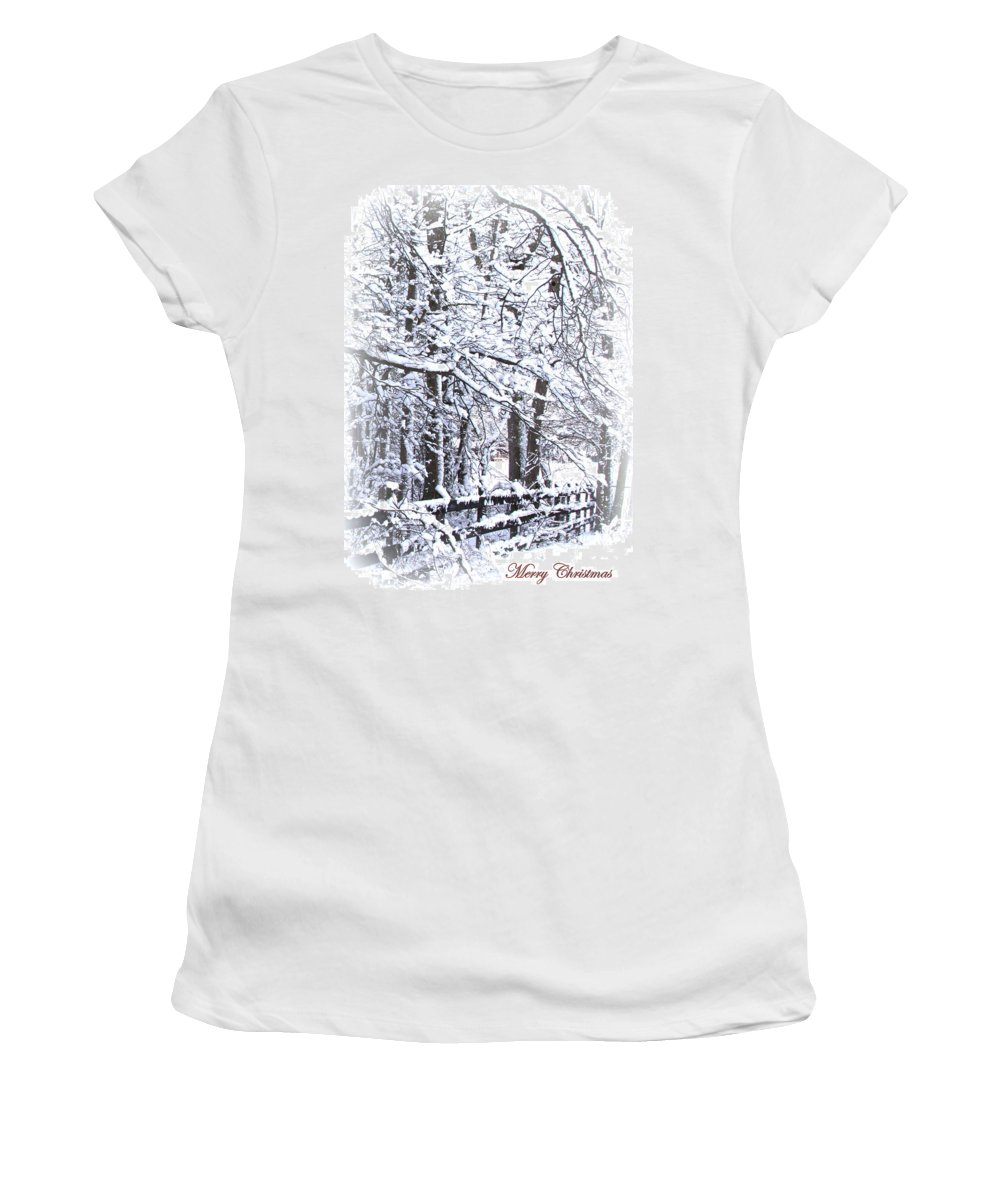 Snowy Woods Women's T-Shirt featuring the photograph Snow-img-2174-merry Christmas by Travis Truelove