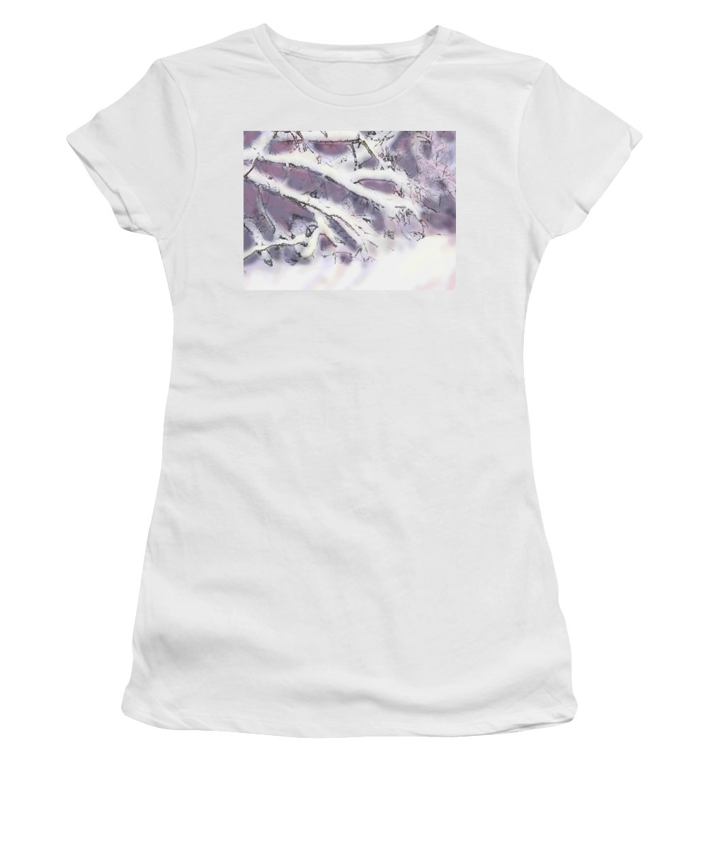 Winter Women's T-Shirt (Athletic Fit) featuring the digital art Snowtract by Ian MacDonald