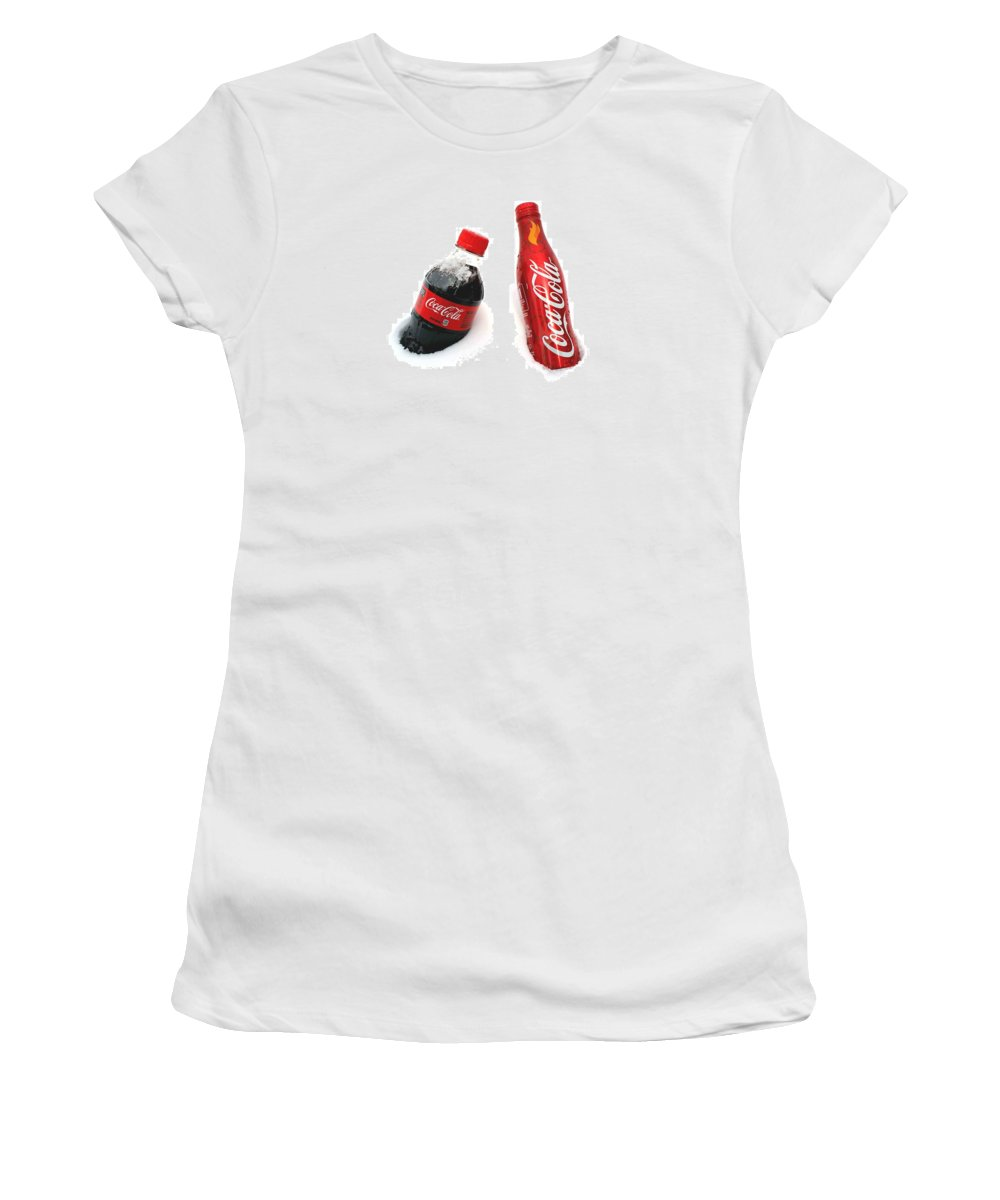 Snow Women's T-Shirt (Athletic Fit) featuring the photograph Snowy Coca - Cola by Fiona Kennard