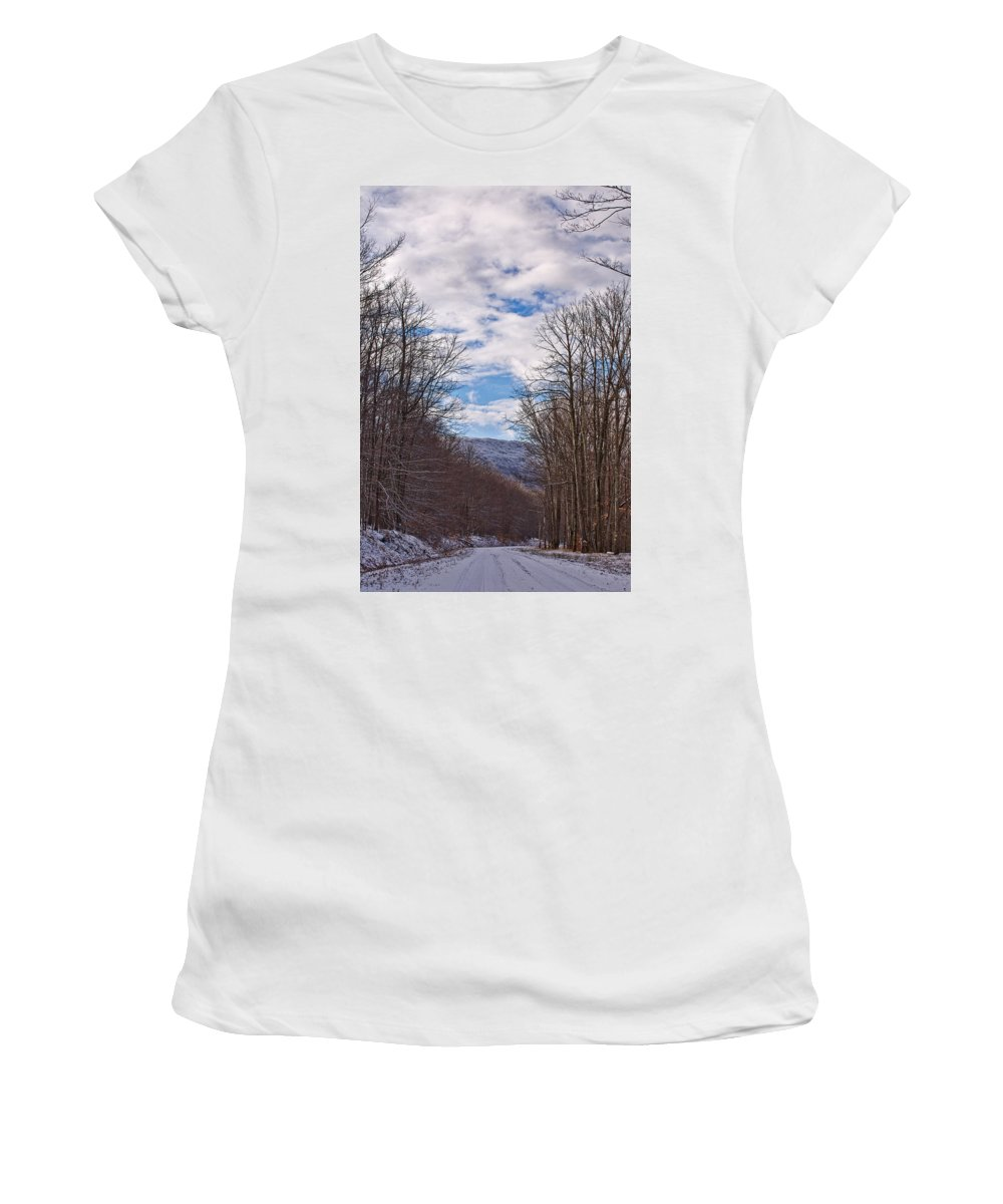 Snow Women's T-Shirt (Athletic Fit) featuring the photograph Snowy Country Road by Brian Simpson