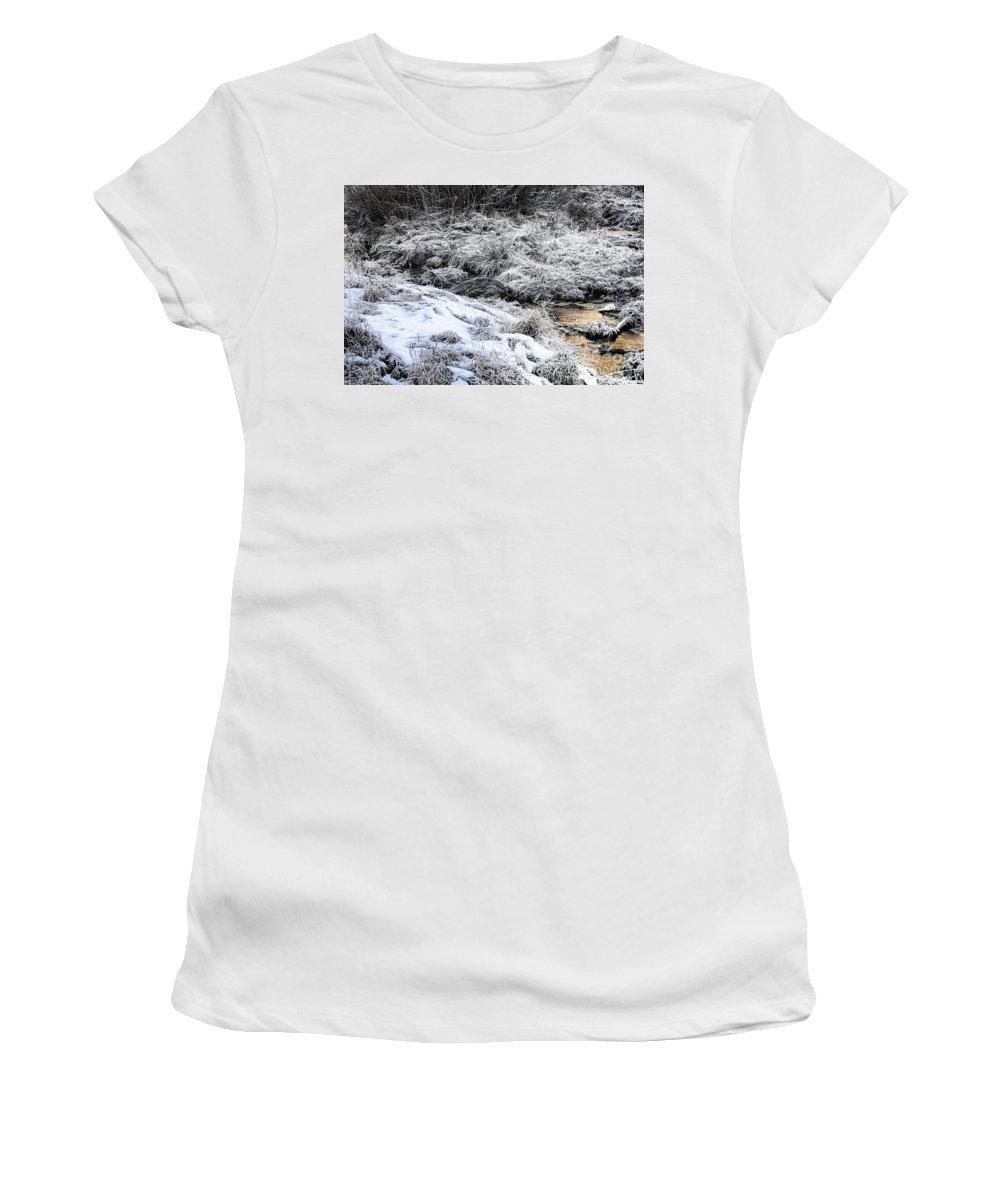 Sundance Aspen Women's T-Shirt featuring the photograph Snowy Mountain Stream V2 by Douglas Barnard