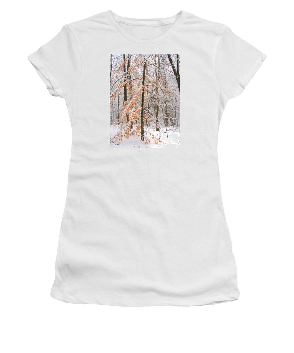 Winter Women's T-Shirt (Athletic Fit) featuring the photograph Snowy Woods by Ann Horn