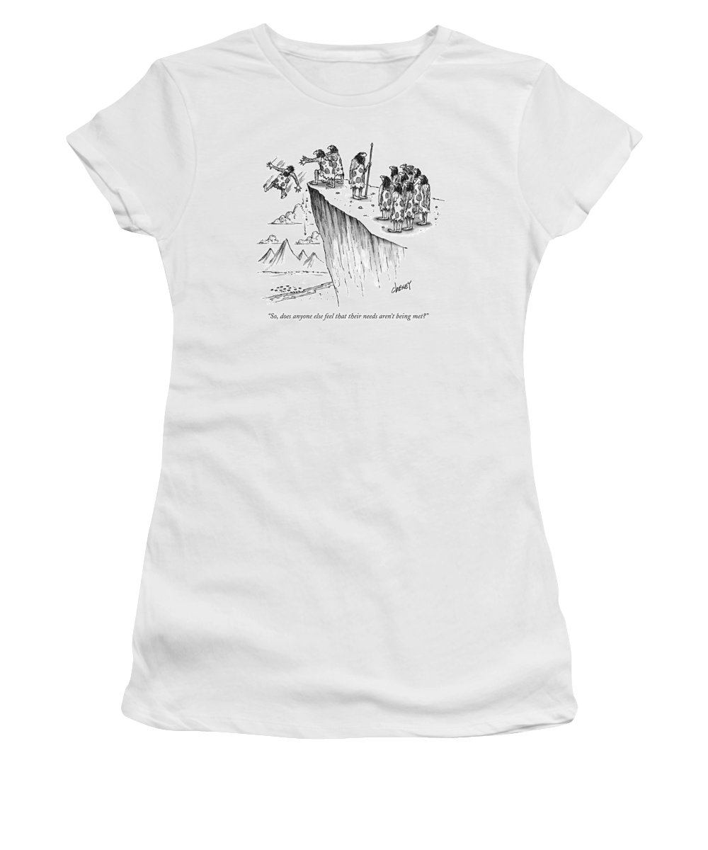 Death Women's T-Shirt featuring the drawing So, Does Anyone Else Feel That Their Needs Aren't by Tom Cheney