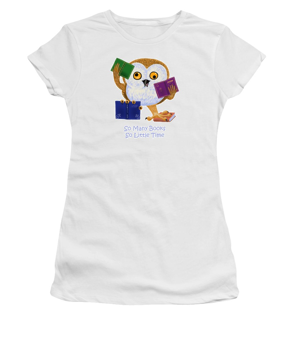 Owl Women's T-Shirt (Athletic Fit) featuring the painting So Many Books So Little Time by Leena Pekkalainen