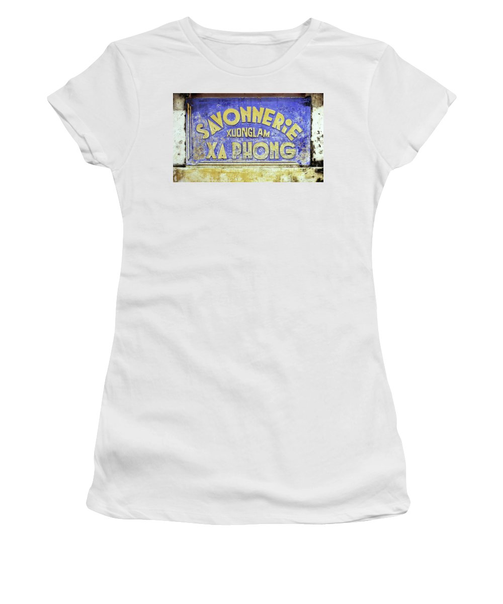 Weathered Women's T-Shirt (Athletic Fit) featuring the photograph Soap Factory Sign by Rick Piper Photography