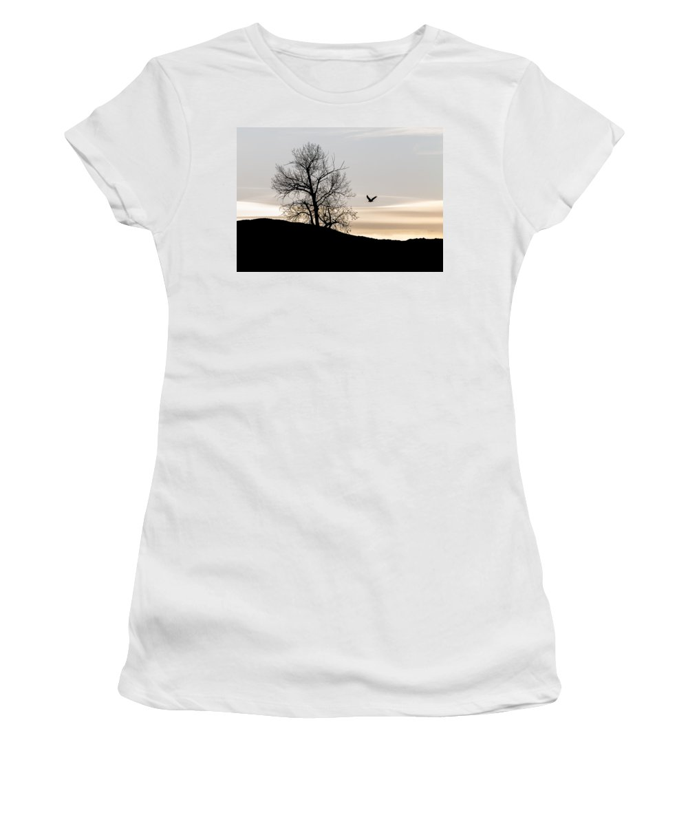 Women's T-Shirt (Athletic Fit) featuring the photograph Soaring Eagle by Michael Chatt
