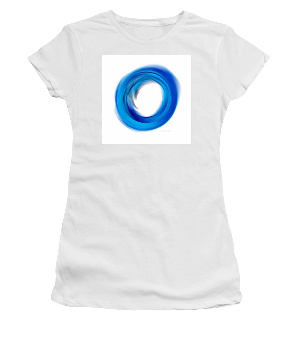 Enso Women's T-Shirt featuring the painting Soft Blue Enso - Abstract Art By Sharon Cummings by Sharon Cummings
