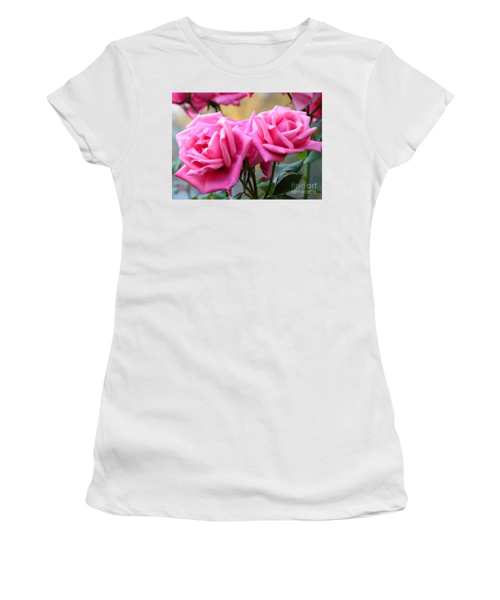 Roses Women's T-Shirt (Athletic Fit) featuring the photograph Soft Pink Roses by Carol Groenen