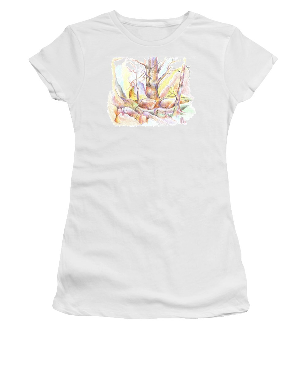 Softly Speaking Women's T-Shirt featuring the painting Softly Speaking by Kip DeVore