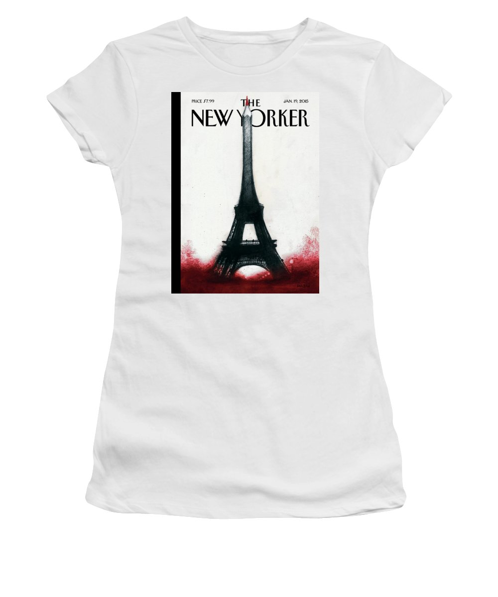 Charlie Hebdo Women's T-Shirt featuring the painting Solidarite by Ana Juan